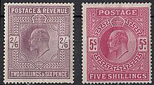 GREAT BRITAIN KING EDWARD VII 2/6d & 5/- Mint,
