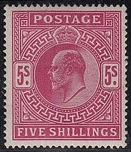 GREAT BRITAIN KING EDWARD VII 5/- carmine, appears