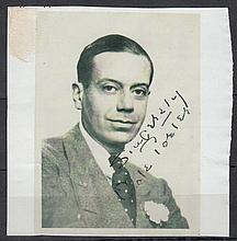 AUTOGRAPHS Cole Porter: Autographed on 9 x 7 cm