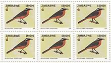 ZIMBABWE 2005 Birds of Zimbabwe set to $500,000 in