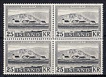ICELAND 1957 25k black block of 4 U/M, fine. SG