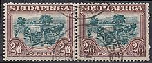 SOUTH AFRICA 1932 2/6d green & brown pair F/U. SG