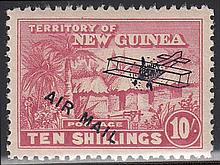 NEW GUINEA 1931 Air 10/- bright pink lightly M/M,