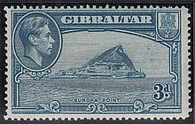 GIBRALTAR 1938-51 3d light blue, perf 14, Mint,
