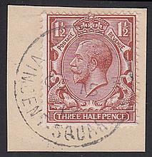 GREAT BRITAIN FIRST DAY COVERS 1912 (Oct 15th) Royal Cypher 1½d brown on piece only with Vincent Squ