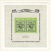 SWITZERLAND 1943 National Philatelic Exhibition Min Sheet Mint, fine. SG MS433a Cat £65