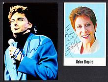 AUTOGRAPHS Helen Shapiro & Barry Manilow autographed colour photos. (2 items). This lot is sold on b