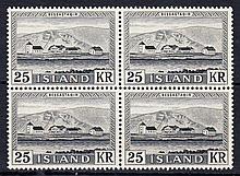 ICELAND 1957 25k black block of 4 U/M, fine. SG 349 Cat £104 (4)
