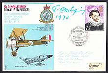 AUTOGRAPHS Tom Sopwith: Autographed on 1973 RAF cover. Address label, fine.