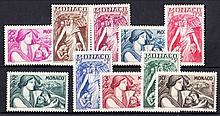 MONACO 1941 National Relief Fund set Mint. SG 239-248 Cat £59 (10)