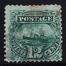 UNITED STATES OF AMERICA 1869 12c green Paddle Steamer used, fine, expertised on reverse. SG 119 Cat