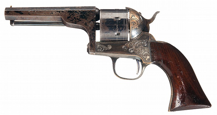 Very Fine Engraved Moore Patent Single Action Belt Revolver