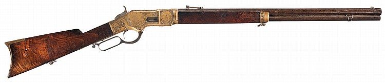 Exceptional, Documented Deluxe Gold Plated, Conrad F. Ulrich Signed Panel Scene Factory Engraved Winchester Model 1866 Rifle