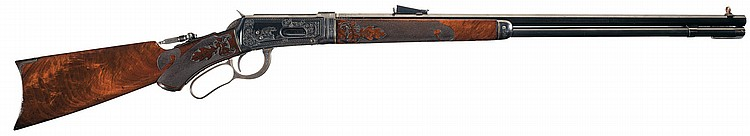 Spectacular Documented J Ulrich Signed Factory Panel Scene Engraved Gold Inlaid Winchester Model 1894 Fancy Takedown Lever Action Rifle with Carved Stock and Factory Letter