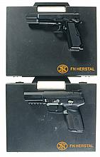 Two FNH Semi-Automatic Pistols with Cases -A) FNH Model HP SA SFS Pistol