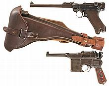 Two German Semi-Automatic Pistols -A) DWM 1917 Production Artillery Luger Pistol with Stock and Holster