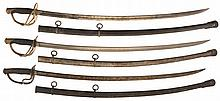 Three Civil War Dated U.S. Model 1860 Light Cavalry Swords with Sheaths