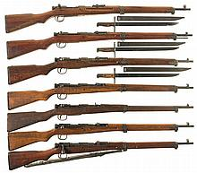 Seven World War II Japanese Bolt Action Rifles -A) Nagoya Type 99 with Bayonet and Metal Scabbard