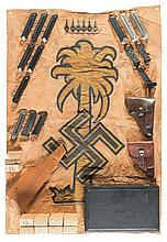 Afrika Korps Style Flag, NSFK Poster and Shell Crate with Assorted Firearm Accessories, Magazines, and Rifle Ammunition