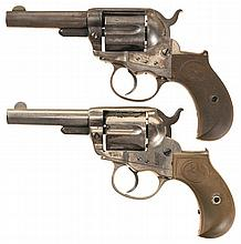 Two Colt Ejectorless Model 1877 Lightning Revolvers -A) Early Colt Etched Panel Lightning Revolver