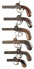 Six European Double Barrel Percussion Pistols -A) Belgian Pistol