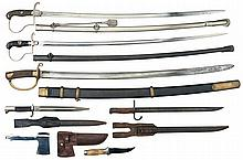 Three Swords, Two Bayonets and a Combination Knife/Hatchet
