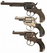 Three Colt Model 1877 Double Action Revolvers -A) Colt Lightning Revolver