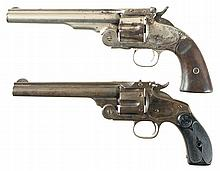 Two Smith & Wesson Top Break Revolvers -A) S&W; Number Three Schofield Revolver