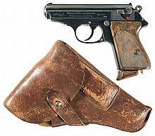World War II Walther PPK with Nazi Marked Slide with Leather Holster and Extra Magazine