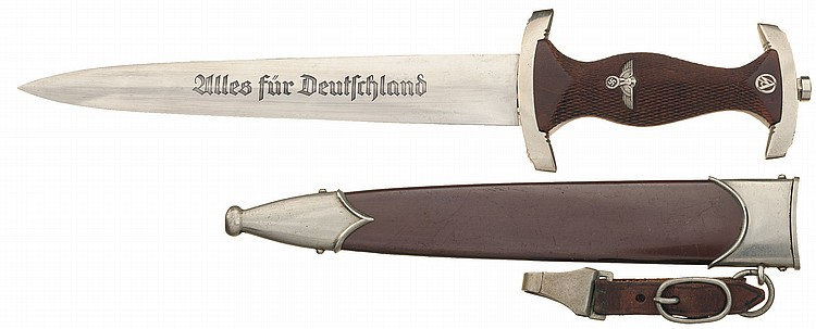 Rare Documented Ernst Rohm Inscribed SA Dagger with Sheath, Hanger and Checkered Grip, as Photographed in Angolia's Daggers, Bayonets & Fighting Knives of Hitler's Germany