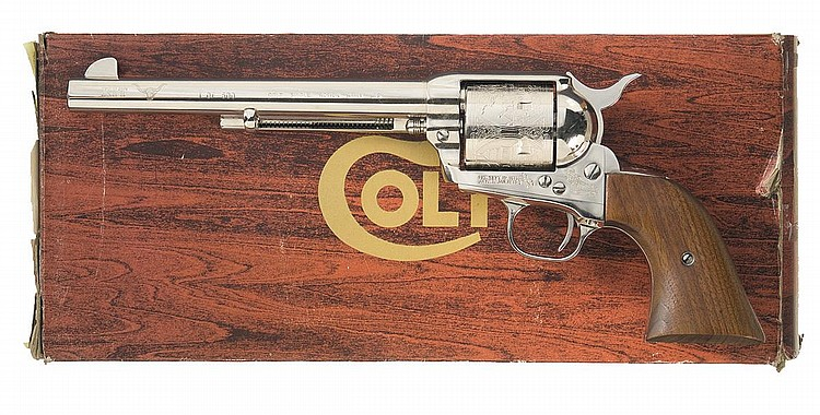 Engraved Colt Single Action Army XIT Ranch Custom Edition Revolver with Box, Documented to the Colt Factory Archive Collection