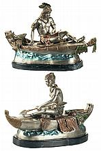 Polychrome Bronze Pair of Indians in Canoes