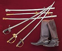 Three American Officer Swords and a Framed Commission, All Marked, Inscribed and Etched to the Same Officer, with a Pair of Riding Boots and Consignor Research