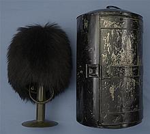 Scots Guards Other Ranks Bearskin Grenadier Cap with Cloth Cover Stand and Storage Tin