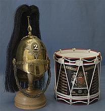 British Military Style Miniature Drum and Helmet