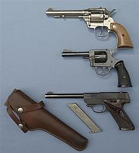 Three Handguns -A) High Standard Double Nine Convertible Double Action Revolver with Matching Box and Extra Cylinder