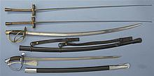 Two Swords with Scabbards and Two Fencing Foils