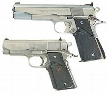 Two Semi-Automatic 1911 Pistols -A) Unmarked 1911A1 Frame with Colt 22 Conversion Kit Installed