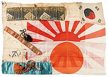 Three Japanese Flags, One Korean Flag, and Three Japanese-Style Blade Bags