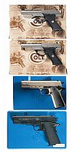 Two Colt 22 Semi-Automatic Pistols and Two Colt Air Pistols with Cases -A) Colt 22 N.R.A. 125th Anniversary Commemorative Pistol