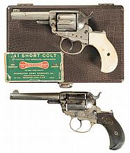 Two Colt 1877 Lightning Double Action Revolvers -A) Colt 1877 Lightning Revolver with Case