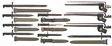Collector's Lot of Eleven U.S. Military Style Bayonets with Scabbards and One Case Marked Fighting Knife