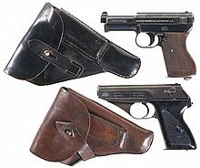 Two Nazi German Semi-Automatic Pistols with Holsters -A) Kriegsmarine