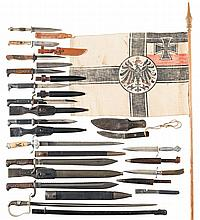 Nine Knives, Four Bayonets, Two Swords and a Miniature Parade Flag, Chiefly German