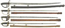 Four British Swords with Scabbards