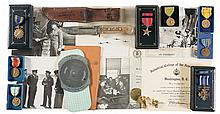 Two Cased World War II Medal Displays with Papers