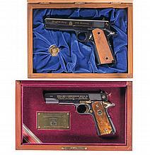Two Cased Model 1911 Semi-Automatic Pistols -A) Colt Model 1911 Series 80 Springfield Armory 200th Anniversary Commemorative Pistol