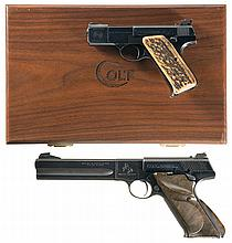 Collector's Lot of Two Colt Match Target Woodsman Semi-Automatic Pistols -A) Cased Colt First Series Woodsman Match Target Semi-Automatic Pistol with Stag Grips