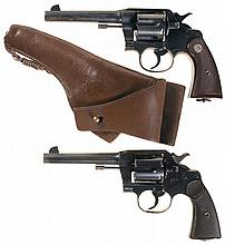Two Colt Double Action Revolvers -A) Colt Army Model 1917 Revolver with Holster