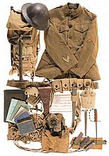 Grouping of World War I Uniform and Field Items, Including Manuals, Tools and a Trench Knife
